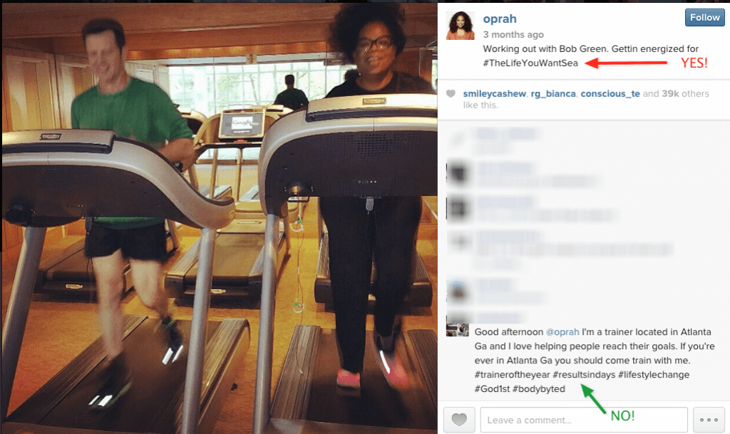 """Oprah uses just one hashtag to promote her upcoming cruise. But the commenter """"spamming"""" her post is using far more."""