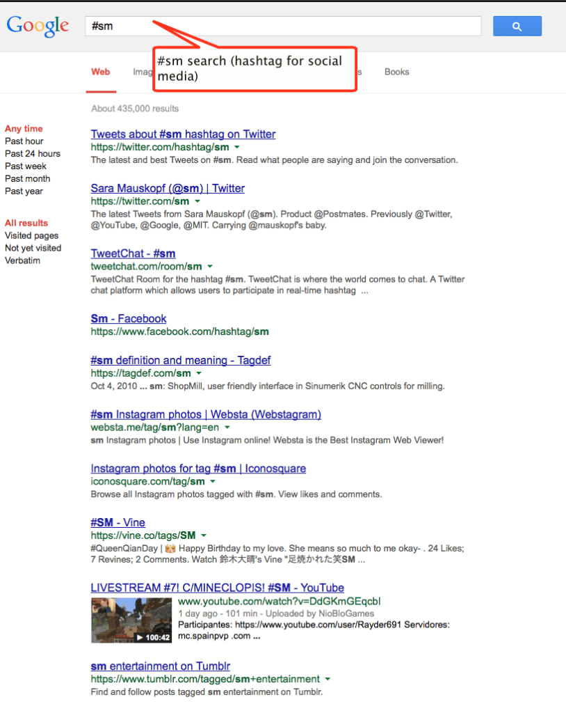 google returns hashtag results in search